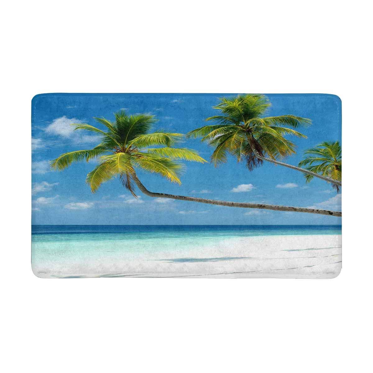 Summer Tropical Beach Ocean With Palm Tree Doormat Anti