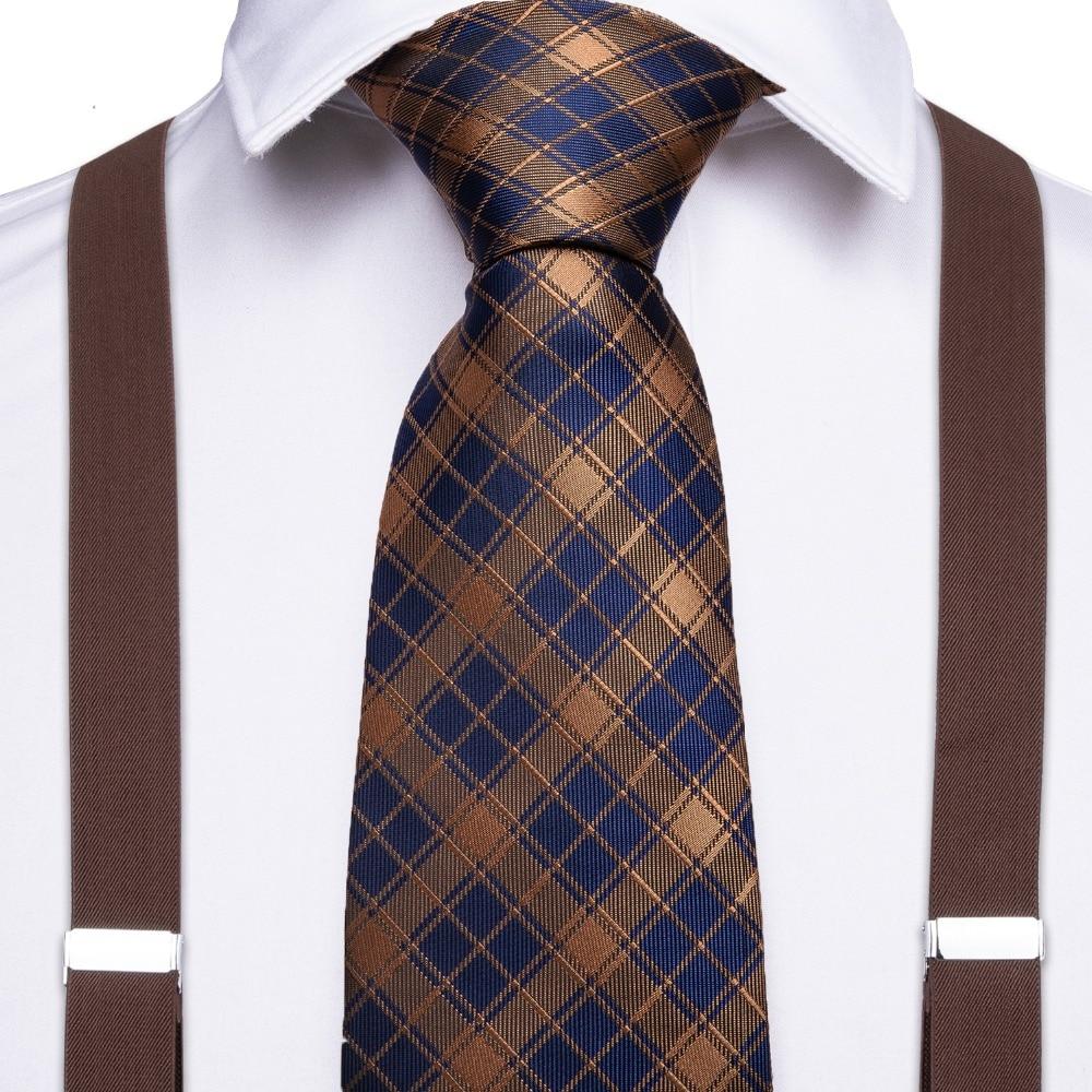 New Designer Brown Unisex Adult Suspenders Men 3.5 Width 6 Clip Suspender Mens Tie Set Adjustable Elastic Braces BD011-7173