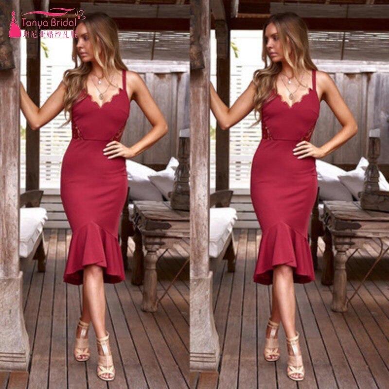 8e7d686bad TANYA prosty styl Homecoming sukienki krótki przód długi powrót Tea długość  Spandex syrenka sukienka na studniówkę