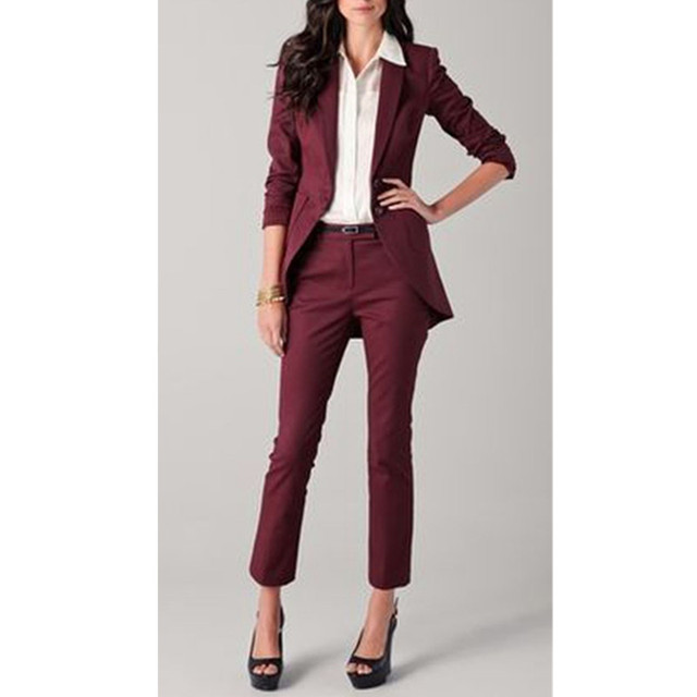 Fashion Pants Suit Custom Women Suit Dress Burgundy Women Ladies