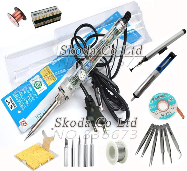 Free Shipping EU Plug GJ 907 Adjustable constant temperature soldering iron sets 11pcs/set Welding auxiliary tool  цены