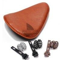 Motorcycle Old School Torsion Leather Solo Seat+3 Spring Bracket Mounting Base Kit Universal For Harley Bobber Saddle Seat