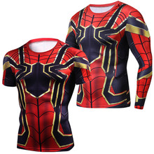 Infinity War Iron Spiderman T shirt Cosplay Peter Parker Superhero Spiderman Tee Shirts Man