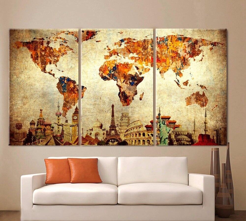 Weltkarte Leinwand Malerei Wand Modulare Bild Für Wohnzimmer ...
