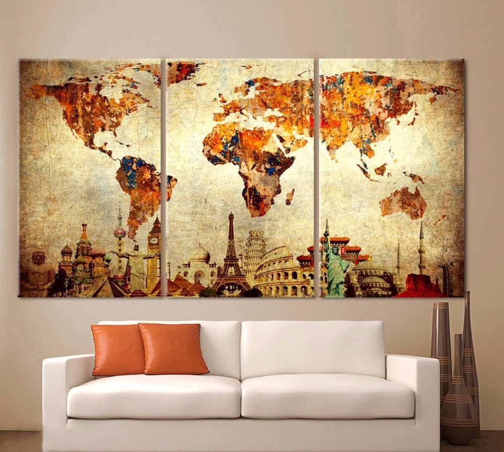 World Map Canvas Painting Wall Modular Picture For Living Room ...