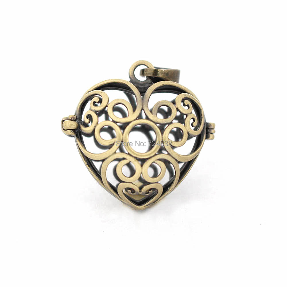 27x17mm Vintage Filigree Flower Hollow Cage Heart Ball Locket Pendants For DIY Essential Oil Diffuser Perfume Chime Making
