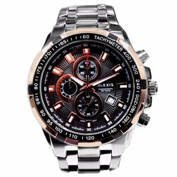 Alexis Men Analog Quartz Round Watch Miyota 0S10 Chronograph Matt Silver Stainless Steel Band Black Dial Water Resistant