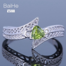 BAIHE Sterling Silver 925 0.19ct Certified Flawless Trillion 100% Genuine Peridot Wedding Women Trendy Fine Jewelry unique Ring