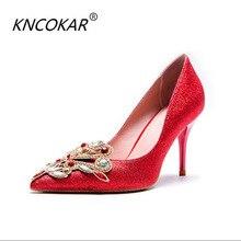 KNCOKAR2018 Alla Moda nuovo caldo di vendita della principessa sposa rosso  e scarpe di cristallo del ea12eb0facc