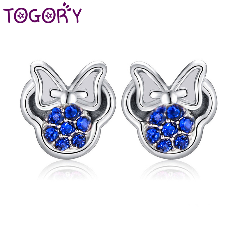 6a2afddaf25de TOGORY Presents Silver Plated Crystal Mickey Shape Pandora Stud Earrings  Sparkling Minnie Fashion Jewelry Special Store
