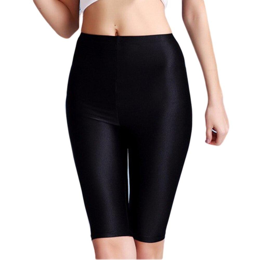 ICOSTUMES Women Black Skinny Knee Length leggings Nylon Lycra spandex Bottoming leggings Free Shipping in Leggings from Women 39 s Clothing