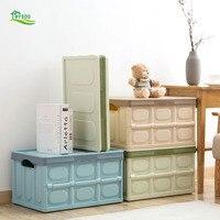 Folding plastic storage box large clothes storage box toy box covered storage box