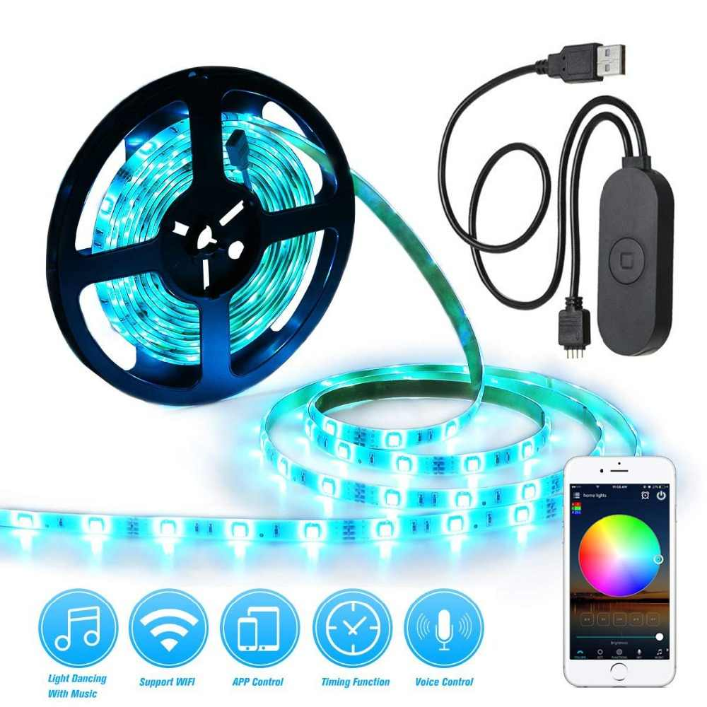 3316a61de666 Detail Feedback Questions about Smart Control Light Strip WiFi LED RGB  Lights Strip Kit 6.56ft 2M 5050 Waterproof IP65 Support for Android iOS and  Alexa ...