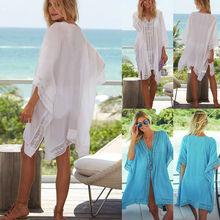 Womens Bikini Cover Up Swimwear Beach Maxi Wrap Sarong Kaftan Dress Long Tops White Chiffon Lace up Cover-ups цена 2017