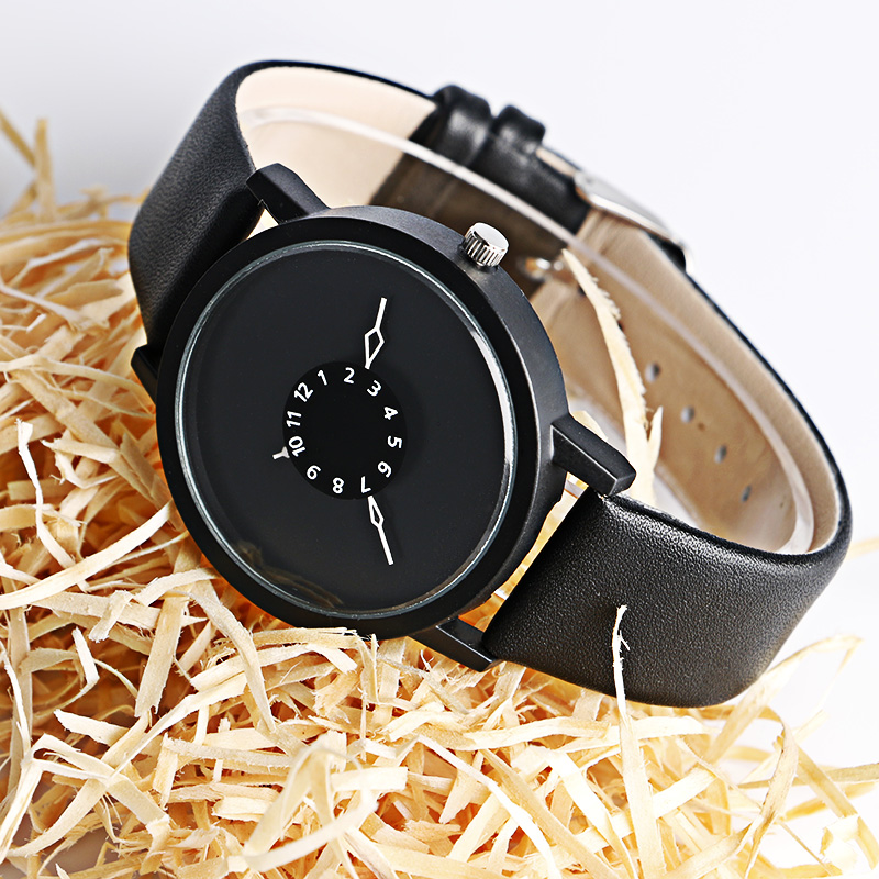Simple Women's Watches Black/White Leather Band Watch Men Casual Hours Quartz Wristwatch Special Design 2018 New Fashion Clock simple fashion hand made wooden design wristwatch 2 colors rectangle dial genuine leather band casual men women watch best gift