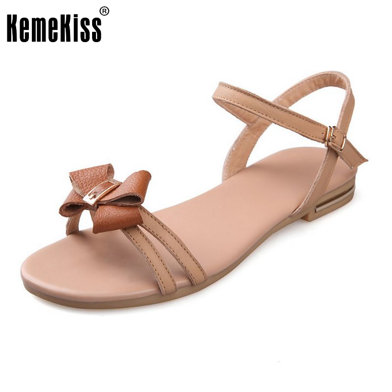 Woman Real Leather Flat Shoes Women Ankle Strap Flats Sandals Ladies Sweet Bowtie Style Footwear Shoes Size 34-39 PA00812 plus size 34 43 new platform flat shoes woman spring summer sweet casual women flats bowtie ladies party wedding shoes