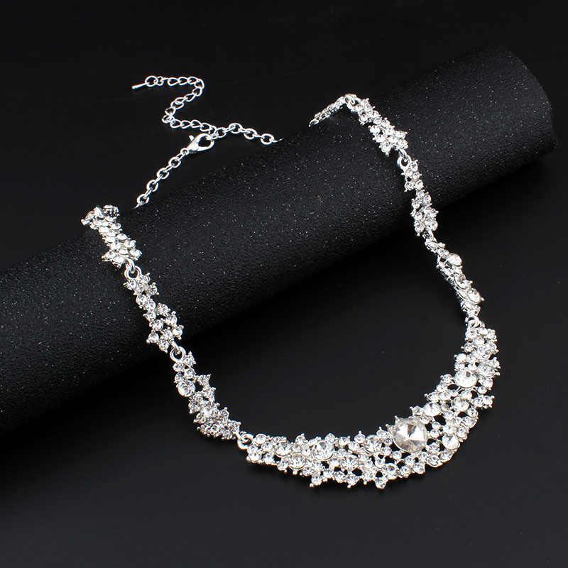 Jiayijiaduo Pengantin Perhiasan Set untuk Wanita Panjang Anting-Anting Pernikahan Aksesori Afrika Manik Perak Warna Kristal Kalung Kotak Hadiah