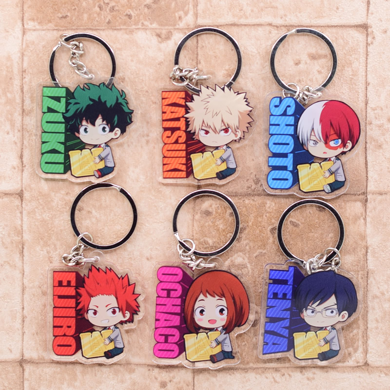 My Hero Academy Keychain Double Sided Acrylic Shoto/Izuku Key Chain Pendant Anime Accessories Cartoon Key Ring