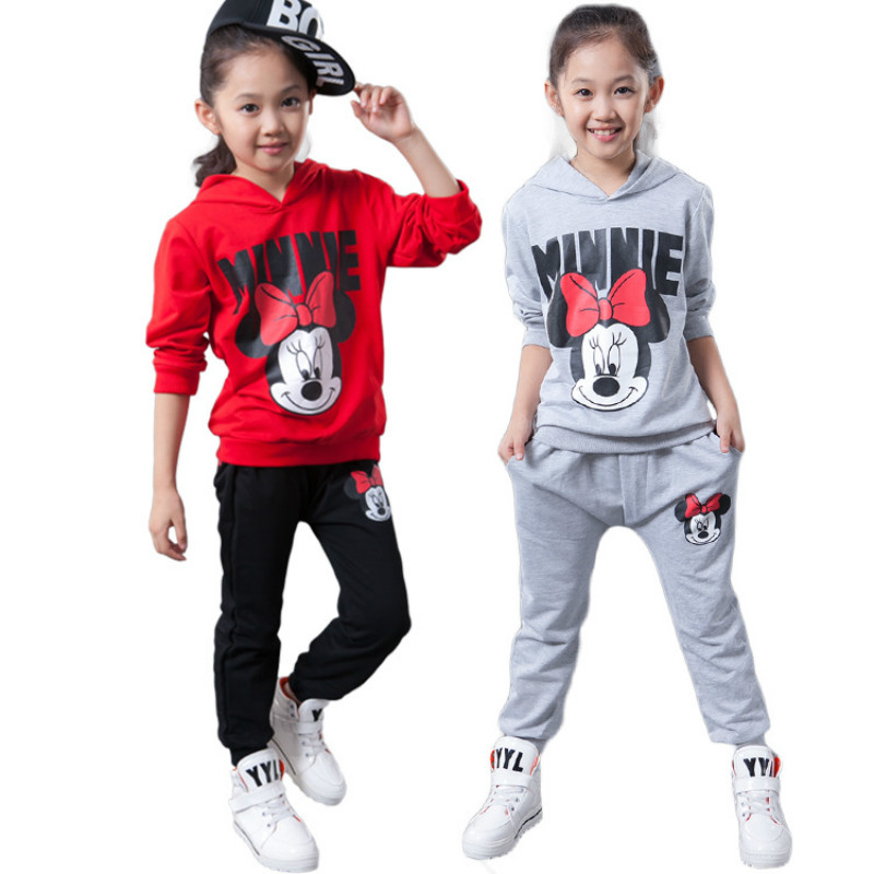 Fashion Spring Autumn new minnie fashion baby girls clothing set kids Sport suit long sleeve hoodies+pants girls clothes sets