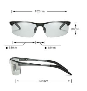 Image 4 - Okulary przeciwsłoneczne fotochromowe polaryzacyjne męskie pół rimless okulary przeciwsłoneczne mężczyźni jazda sport gogle Chameleon zmień kolor odcień 2019
