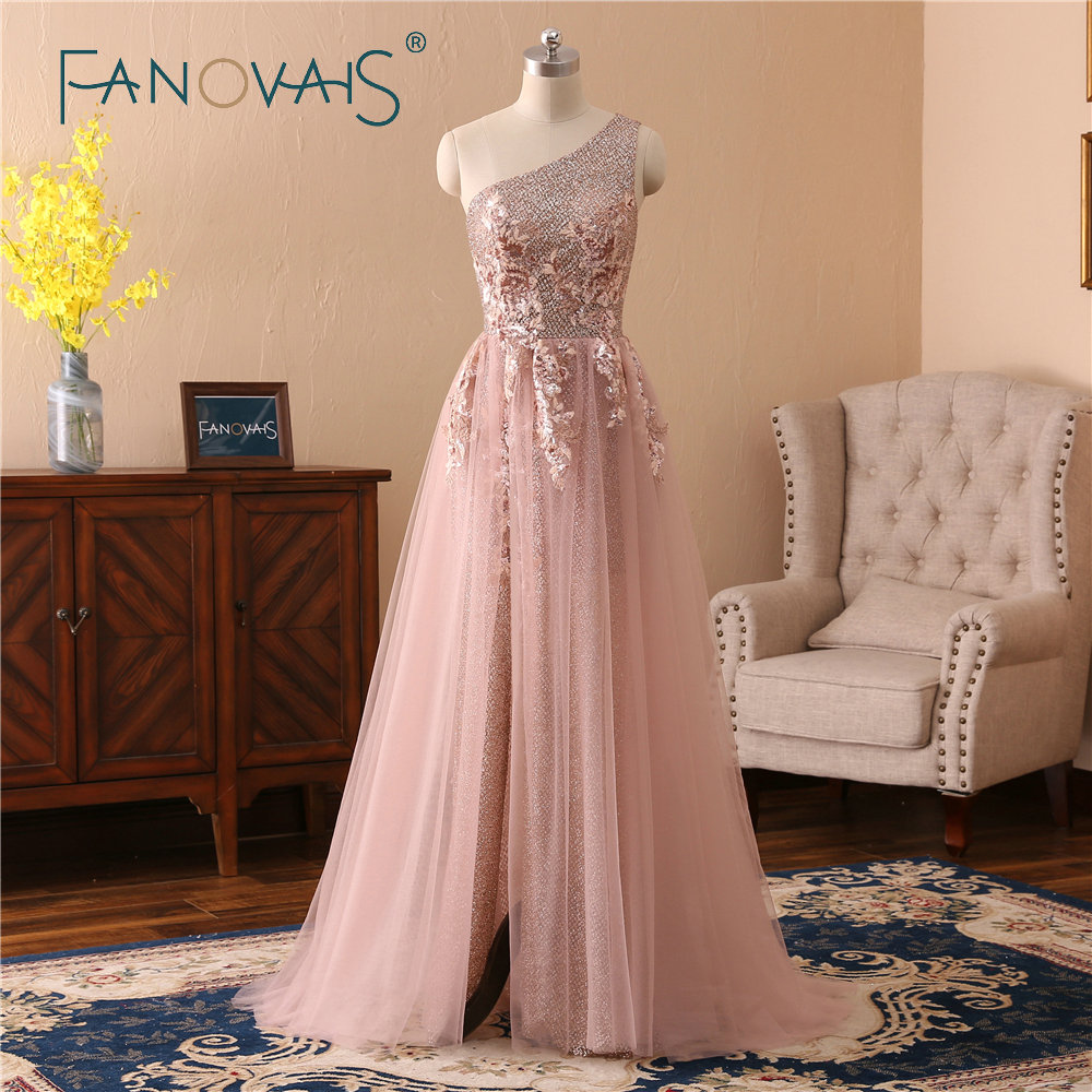 Blush Pink   Evening     Dresses   One Shoulder Sequin Lace   Evening     Dress   Vestido de Festa Robe de Soiree 2019 Shinny Prom   Dress