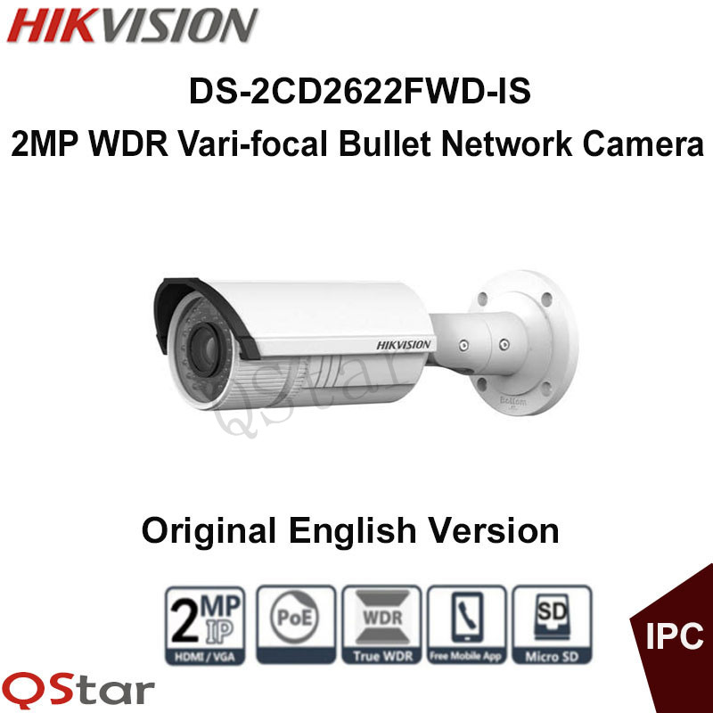 Hikvision Original English Version DS-2CD2622FWD-IS 2MP bullet Network IR IP Camera POE 2.8~12mm Audio WDR CCTV Camera