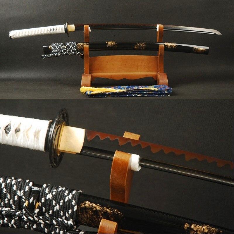Brandon Épées Blck et Rouge Japonais Épée 1095 Acier Argile Trempé Pleine Saveur de Sharp Samurai Katana À La Main Pratique Épée
