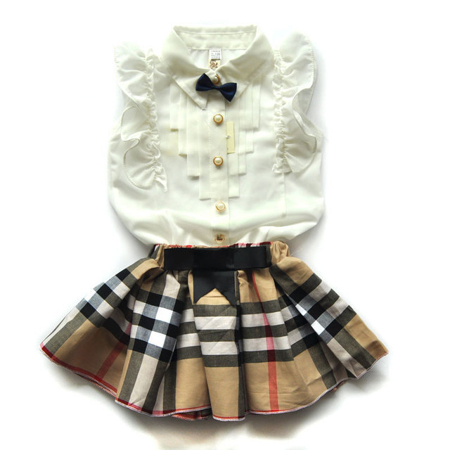 lovely girls white tee shirt and Plaid  skirt with rhinestone clothes set for kids girl summer children clothing set suit 2016