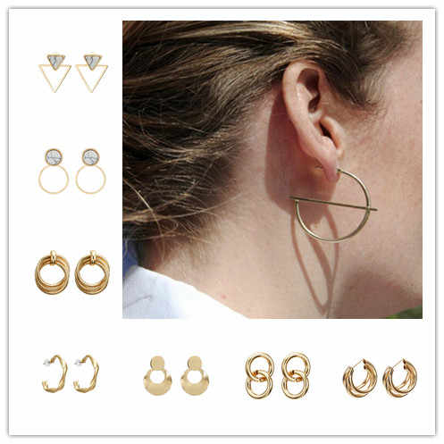 New Minimalist Jewelry Exquisite Geometric Twisted Irregular Round Triangle Matte Metal Mini Stud Earrings for Women Girl Gift