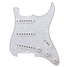Yibuy Loaded Pickguard white Pearl 3 Single Coil for Guitar