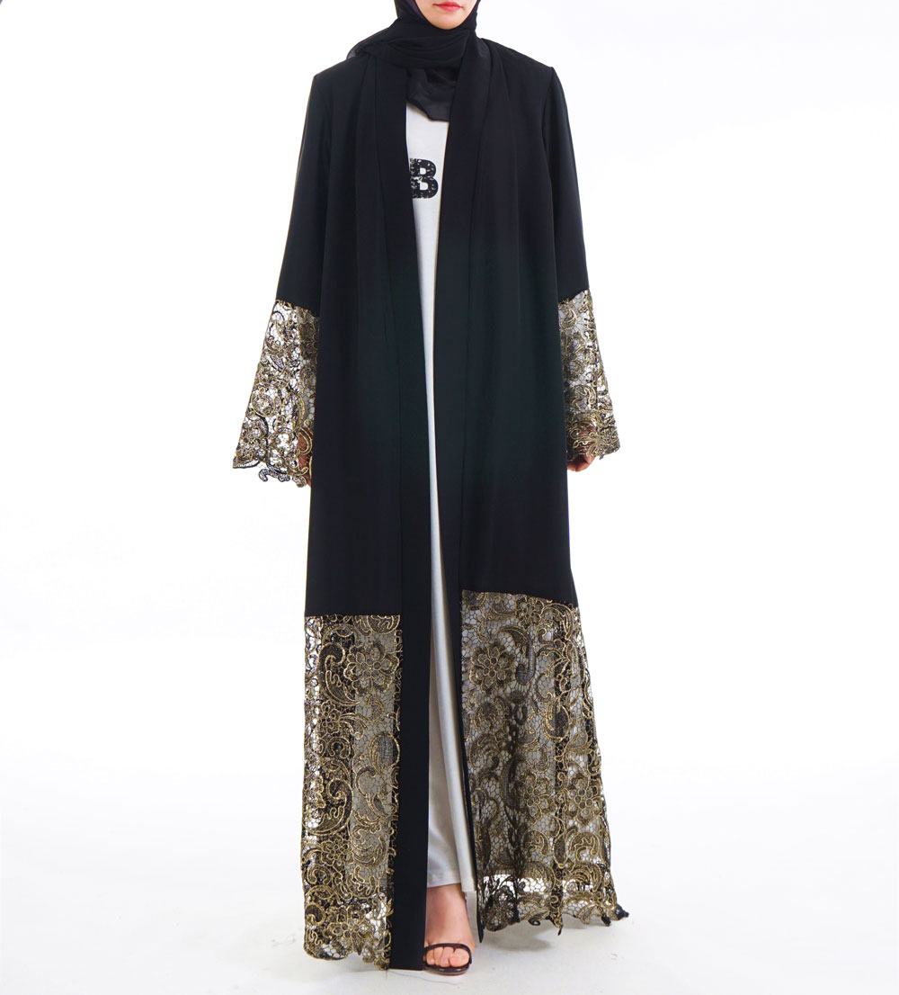 Black Laser Cut Lace Muslim Dress Abaya Islamic Women Malaysia Jilbab Djellaba Robe Musulmane Turkish Baju