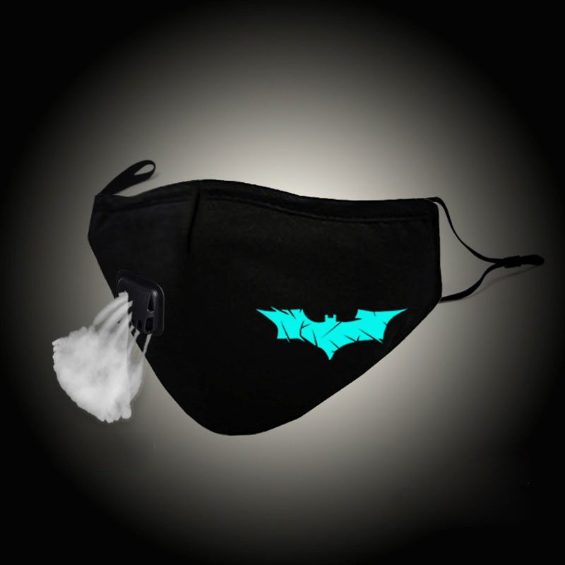 Glow In Dark Fashion Unisex Mouth Mask Bat Man Cosplay Cotton Gauze Face Mask Anti PM2.5 Dust Filter Muffle Valved Respirator