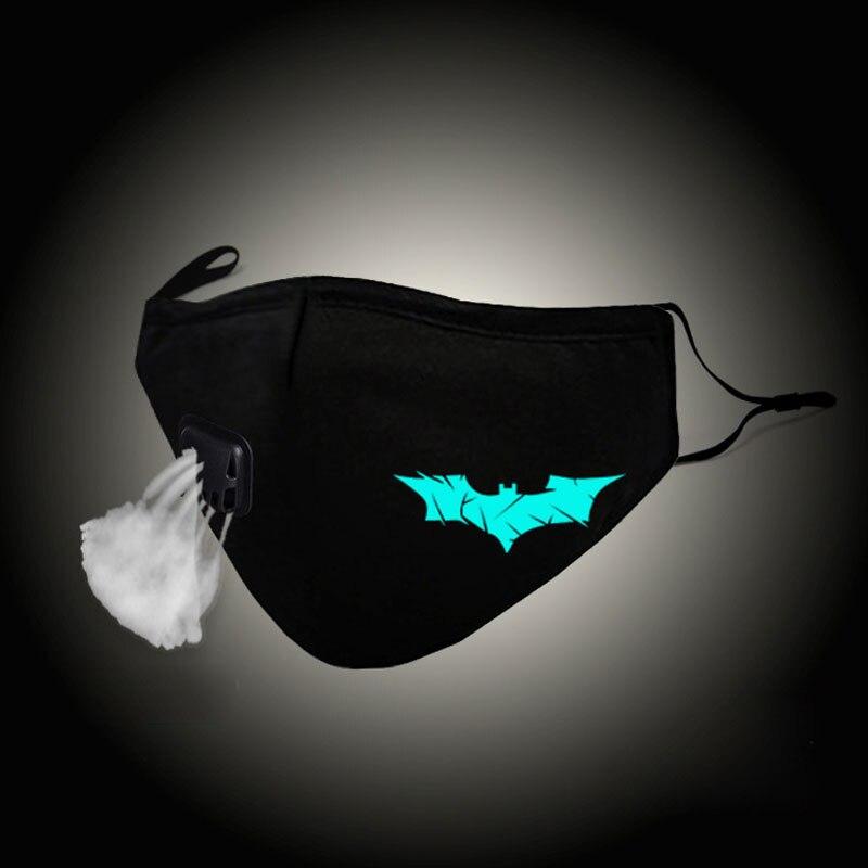 Светящаяся в темноте модная унисекс маска для рта человек летучая мышь Косплей хлопковая марлевая маска для лица Против PM2.5 Пылезащитный фи...