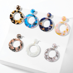 2019 Vintage Colorful Acrylic Round Hollow Dangle Earring Women's Leopard Geometric Resin Acetate Charm Earrings Fashion Jewelry