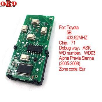 HKOBDII 71 Chip 5 BUTTONS Smart Remote Board 433.92MHz For Toyota  2005-2008 (EUR) Alpha Previa Sienna  WD03(271451-0780)