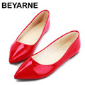New 2016 women flats,women Black/Red/Yellow/Green/Blue/Apricot shoes,woman PU Paint Leather Casusl Pointed toe,free shipping