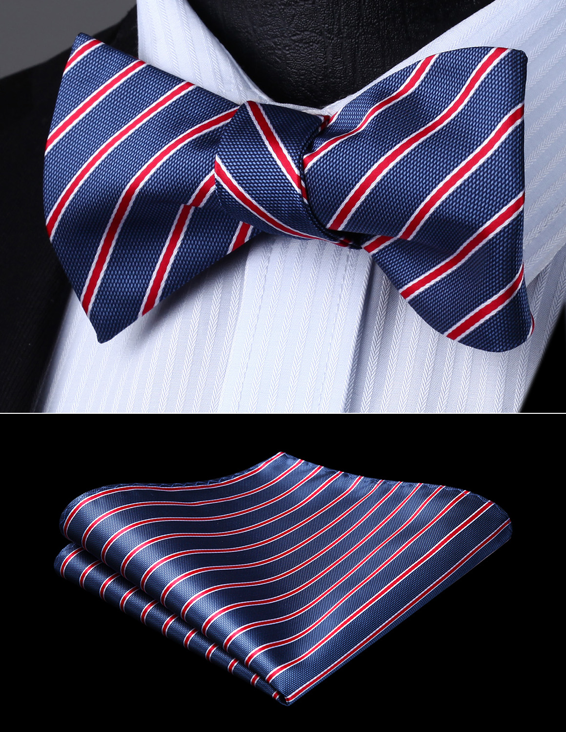 Men Woven Party Wedding Navy Blue Red Striped Self Bow Tie Pocket Square Set#BS721VS Bow Tie Handkerchief Set