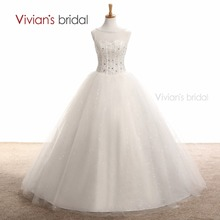 Vivian's Bridal Beading Crystal  Wedding Dress Tulle Bride Gowns Cheap Bridal Dresses vestidos de novia