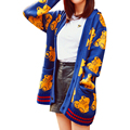2017 New Women Cardigan Spring Fashion Runway Style Cartoon Print Loose Knitted Sweater Poncho gilet femme manche longue