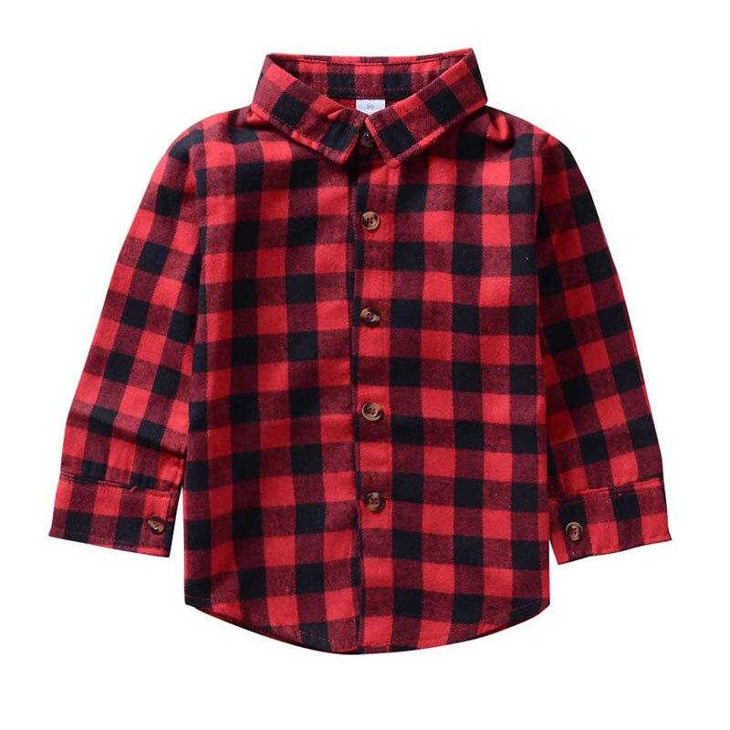 Kids Baby Red Plaid Flannel Shirt Little Boys Girls ...