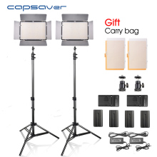 capsaver TL-600S 2pcs LED Video Light Studio Photo Photography Lighting membawa Panel dengan Tripod 5500K CRI 90 NP-F550 Battery