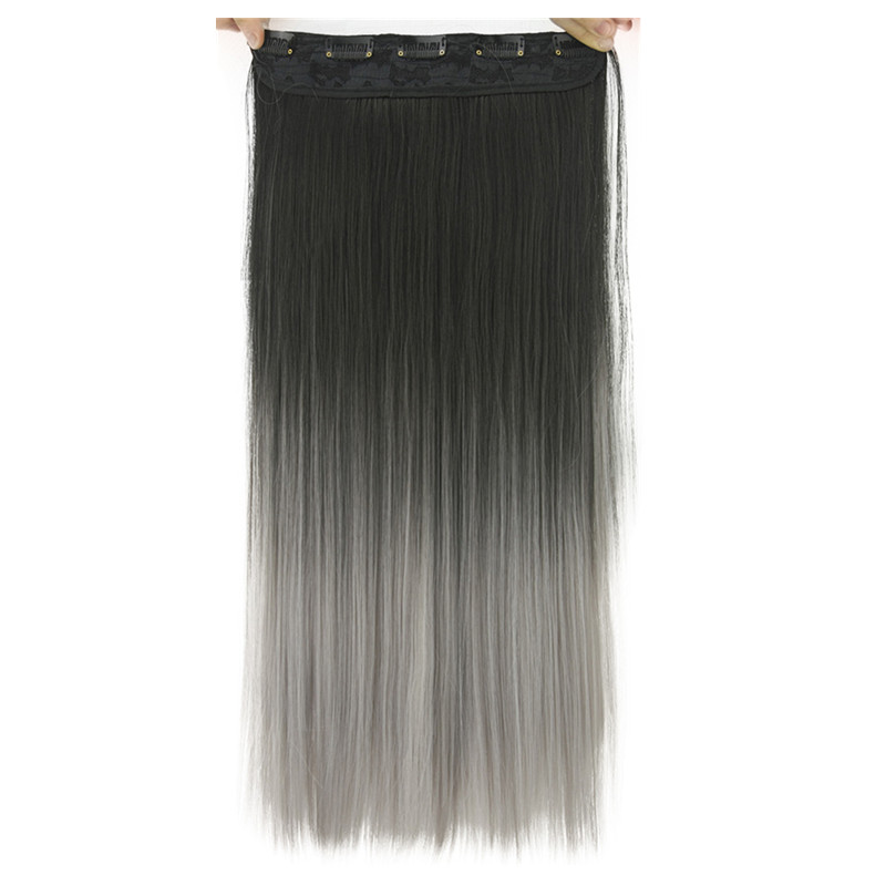 Soloowigs Yaki Straight Grey Ombre Synthetic Hair Extensions High