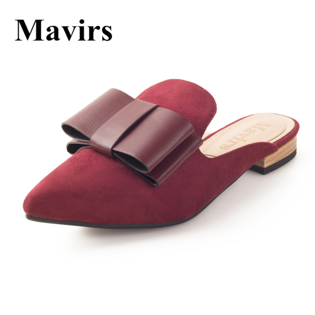 acae175857 MAVIRS Brand Women Shoes 2018 Spring Bow Embellished Mules Slippers Flats  Slides Suede Backless Slip On