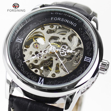 Forsining Marca Mens Relojes de Lujo Superior de la Marca Casual Negro Dial Caja de Acero Inoxidable Grabado los Relojes de Vestir de Negocios Masculino