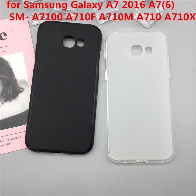 Original TPU Phone Case Covers for Samsung Galaxy A7 2016 A7(6) SM- A7100 A710F A710M A710 A710X Matte Soft Silicone Back Cover