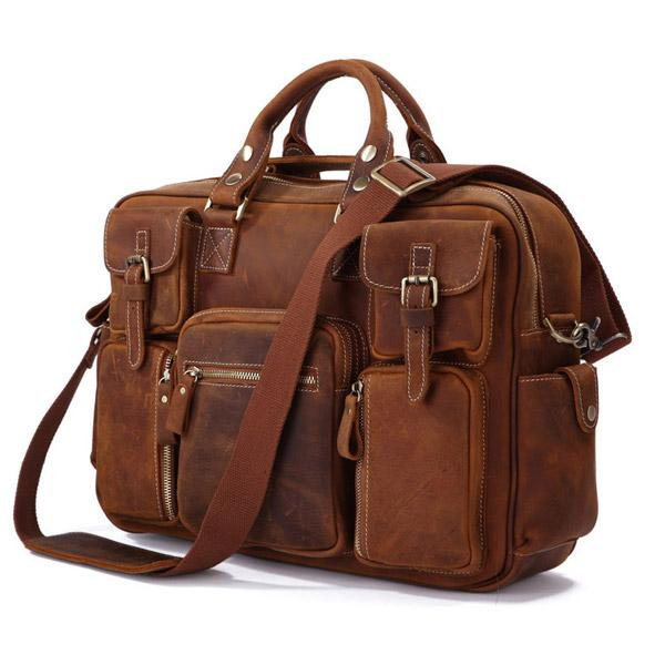 Nesitu High Quality Large Capacity Vintage Brown Black Thick Genuine Leather Men Travel Bags Real Skin Men Messenger Bags #M7028 стоимость
