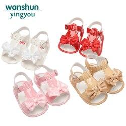 Детские сандалии для девочек; обувь для новорожденных; летняя обувь для младенцев; обувь для малышей с бантом; нескользящая детская брендов...