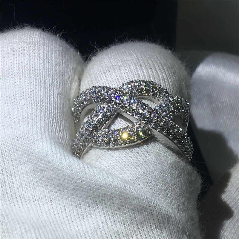Vecalon модное кольцо бесконечность 925 пробы серебро 5A Циркон Cz Камень Обручальное обручальное кольца для мужчин и женщин ювелирные изделия на палец