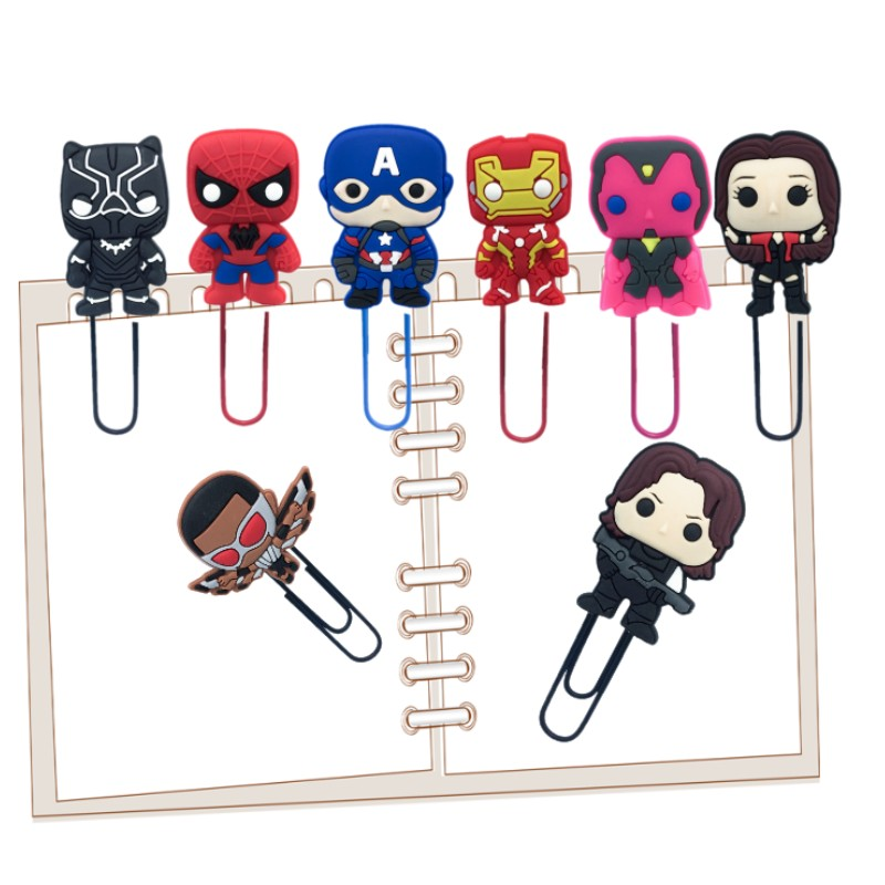 12pcs Cartoon Characters Marvel Avenger Icons Bookmarks For Books Paper Clips At School Office DIY Craft Stationery For Kids
