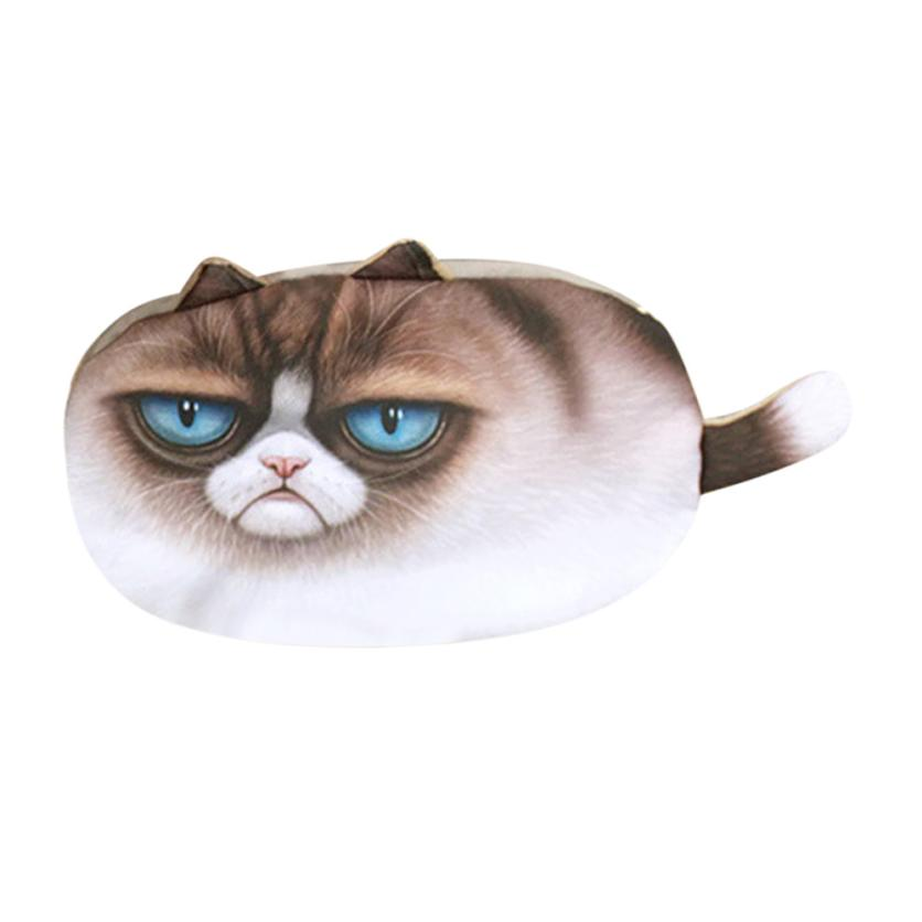 Transer Women Girl Cute Cartoon Cat Face Print Girl Plush Coin Purse Change Purse Bag Wallet drop shipping w14